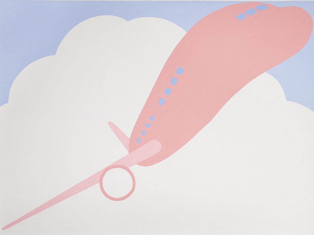 Pink airplane in clouds