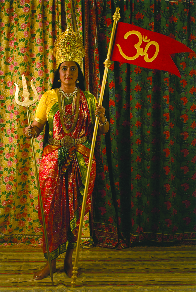 Woman costumed as India