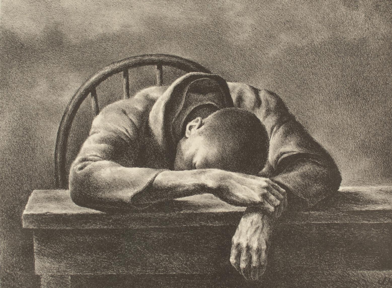 Man asleep with head on table