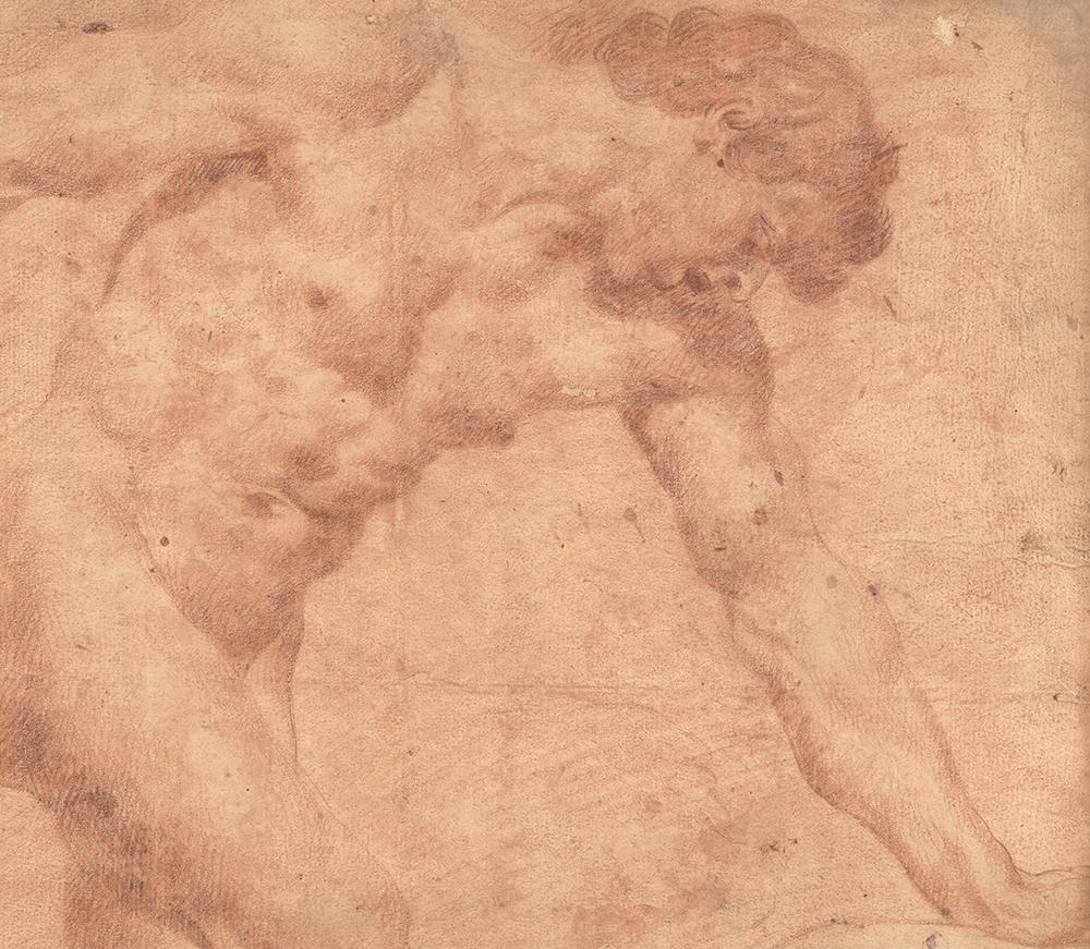 Naked man leaning forward