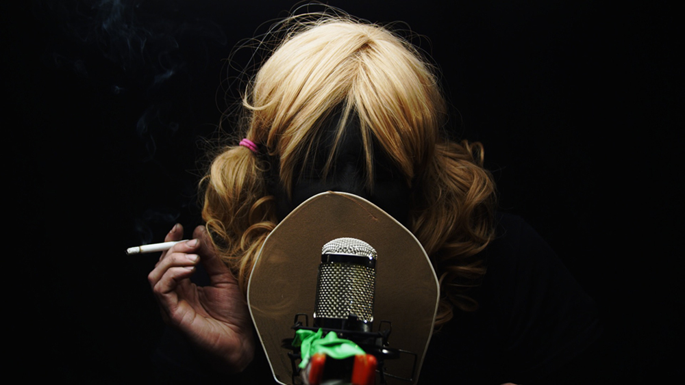 Girl with cigarette and microphone