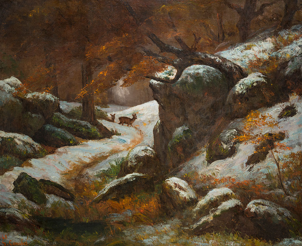 painting of snowy woods with deer