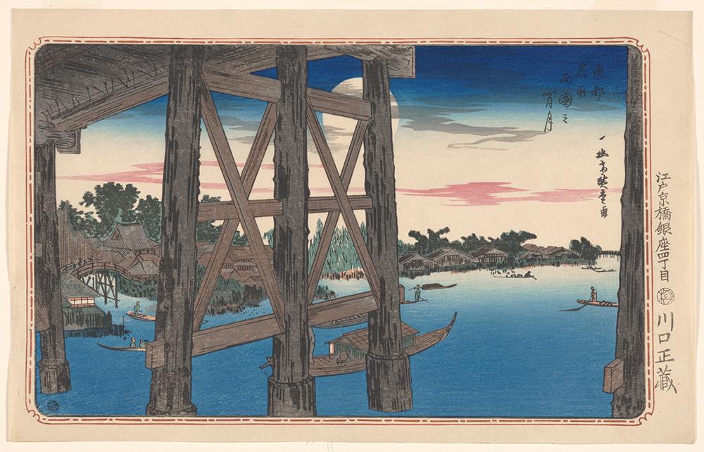 Japanese woodblock print of bridge over river
