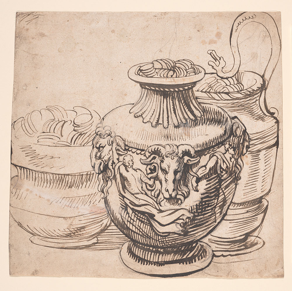 drawing of jugs with carved animals