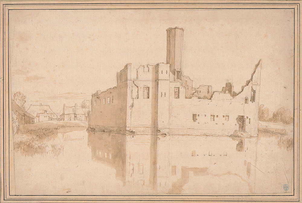 Drawing of a building at the edge of a river