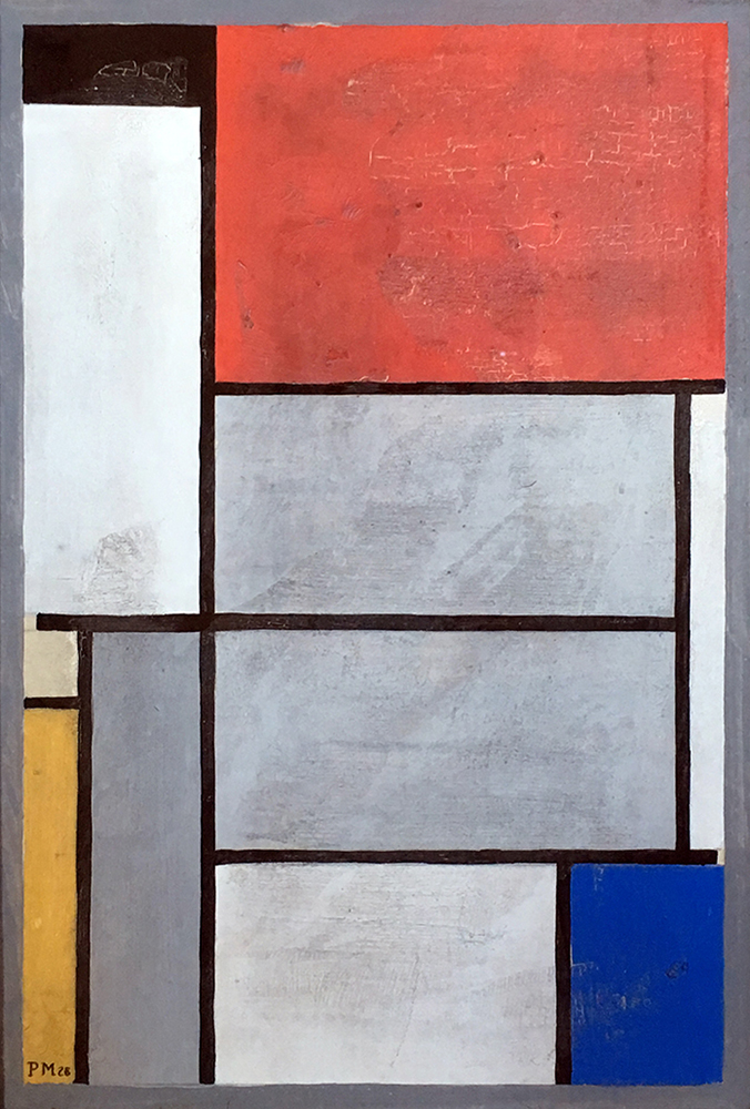 painting of blocks of color outlined in black