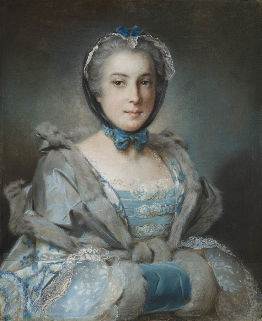 pastel portrait of a woman in a blue dress and muff
