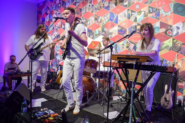 Band plays music in the Ackland's Art& event space