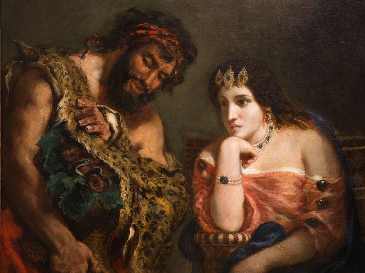 Painting of Cleopatra and the Peasant by Eugene Delacroix is often on view at the Ackland