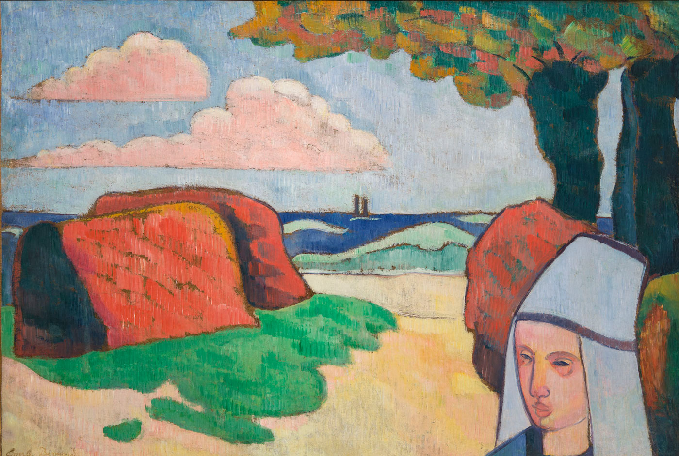 Colorful painting of a woman's face in front of a beach by Emile Bernard