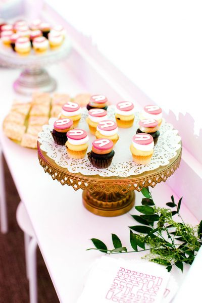 Mini cupcakes on a gold stand in the Ackland's Art& event space