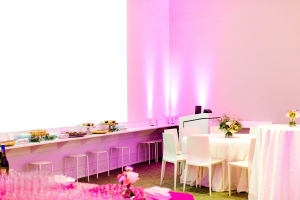 The Ackland's Art& event space set up for food and beverage service
