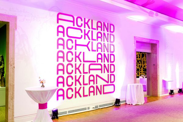 The Ackland lobby set up with cocktail tables for an event