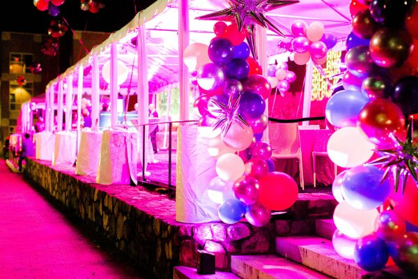 A large balloon arrangement beside a tent on the Ackland's outdoor event terrace