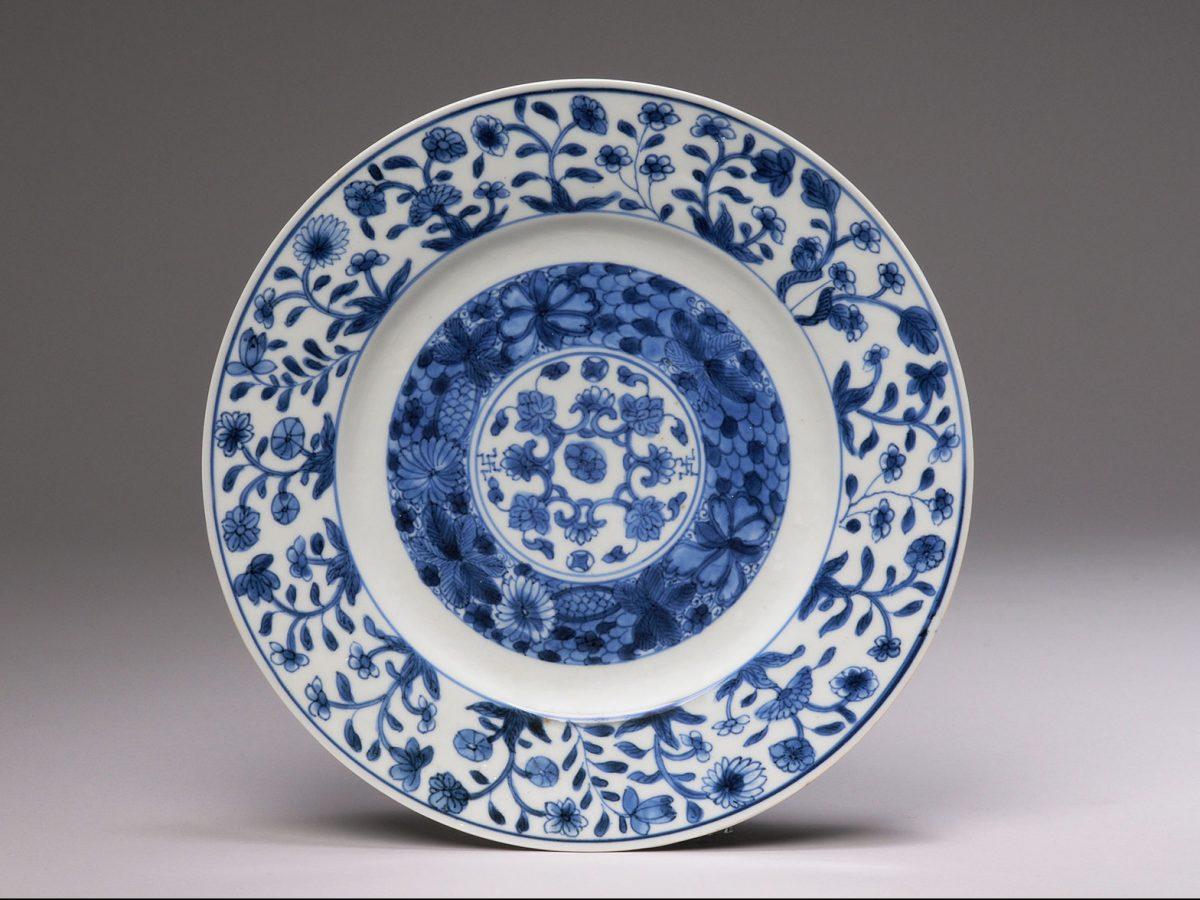 Chinese porcelain plate painted with blue decoration