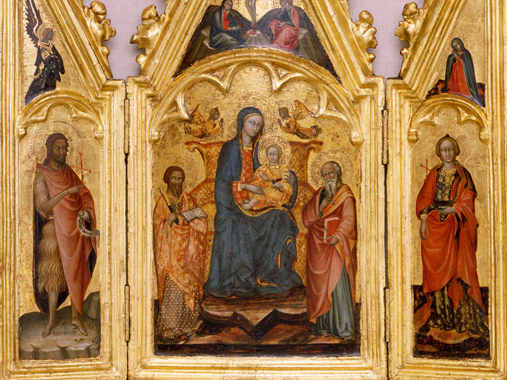 Triptych painting of Madonna and Child with Saints