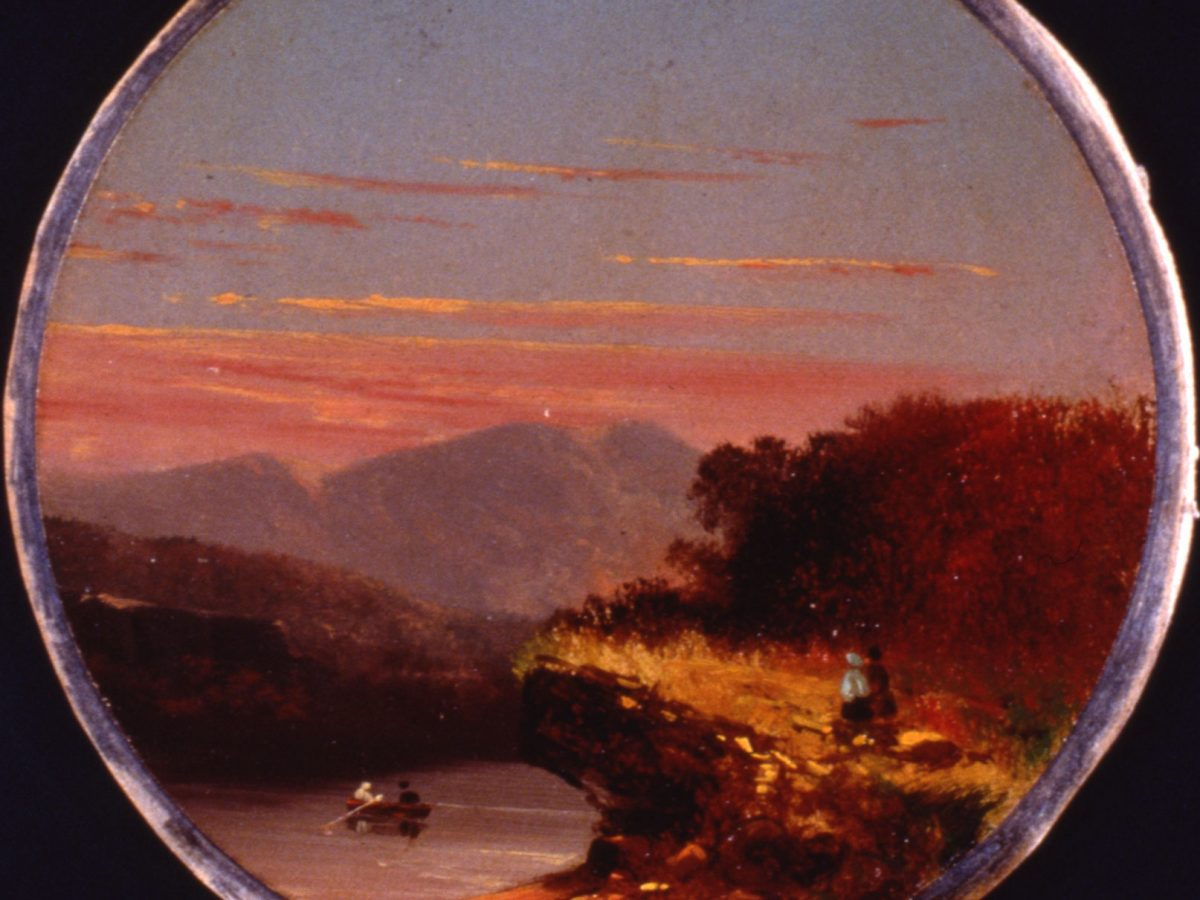 Painting of Landscape with Mountains at Sunset by Jasper Francis Cropsey