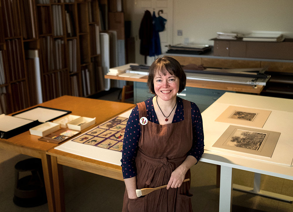 Photo of art conservator Grace White in the conservation lab at the Ackland Art Museum