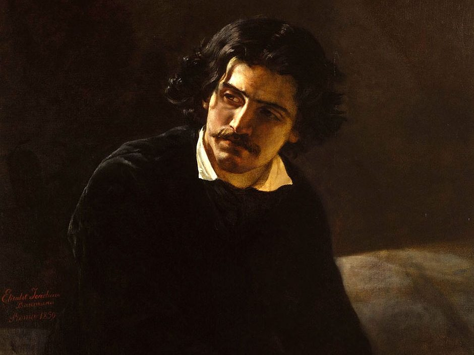 Painting of a man wearing all black