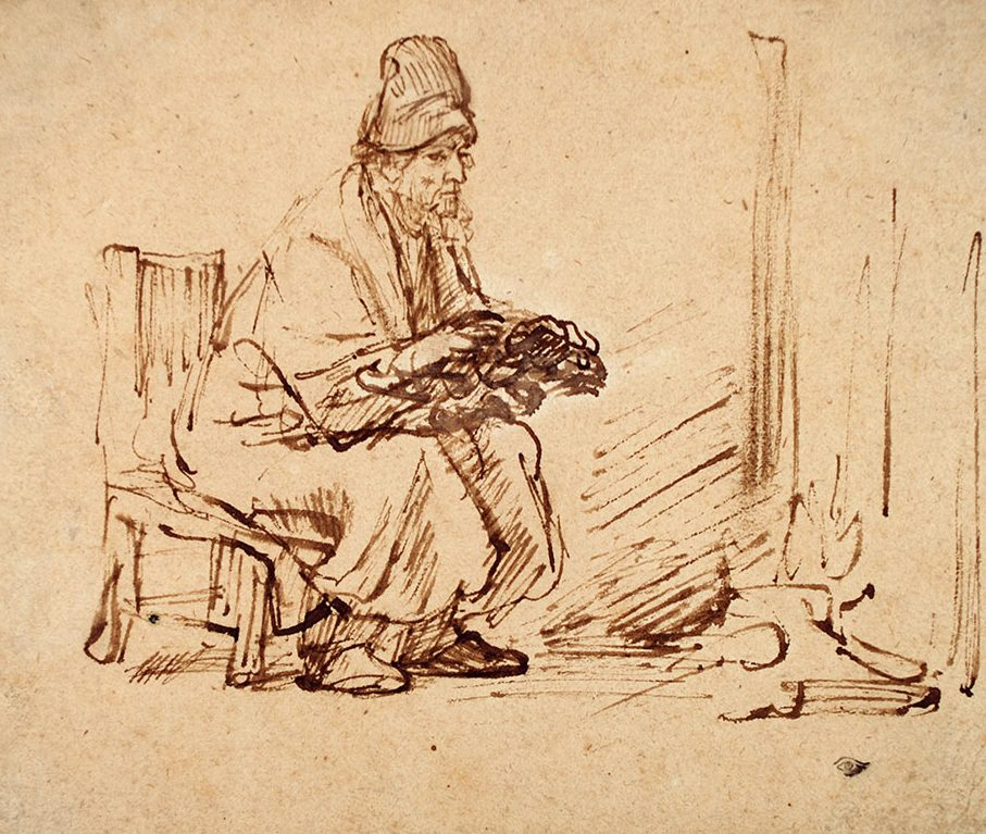 Rembrandt drawing of a man warming his hands by a fire