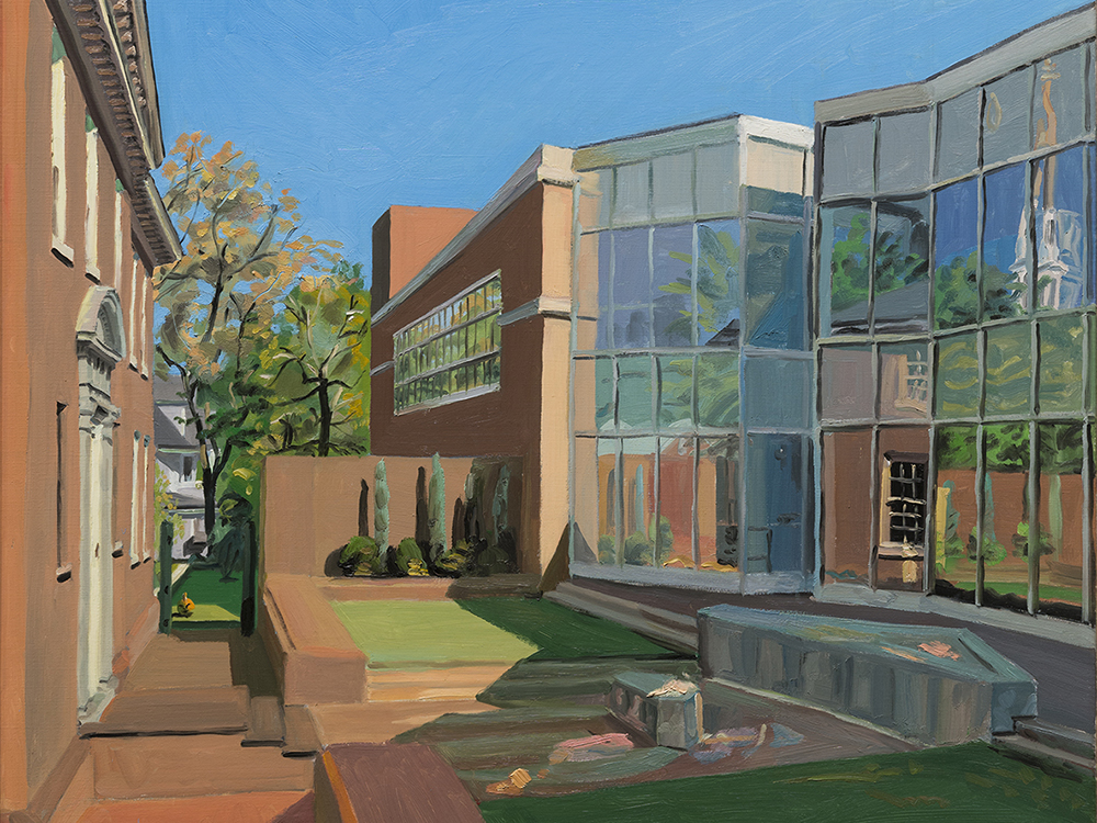 Painting of the courtyard between the Ackland Art Museum and the Hanes Art Center
