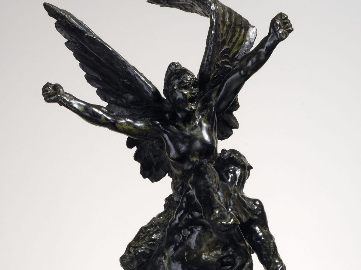 Bronze statue of two figures