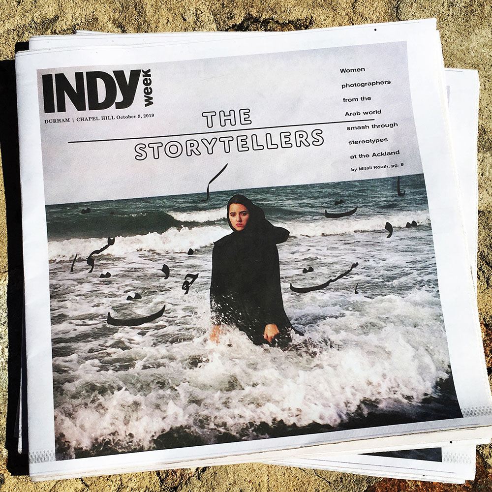 Cover of news publication Indy Week featuring She Who Tells a Story exhibition at the Ackland Art Museum