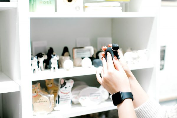 close up photo of hands holding a small carved penguin in the museum store with dog and cat calendars in background
