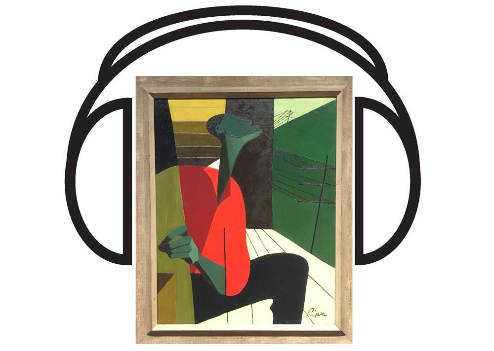 Painting of a person singing with a digital graphic of headphones around the painting
