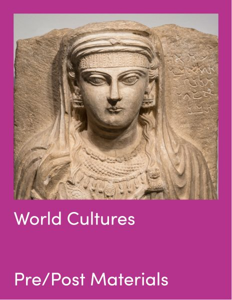 World Cultures Pre and Post Visit Materials and relief carving of a face