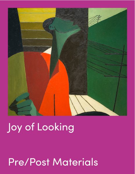 Joy of Looking Pre and Post Visit Materials and painting of singing person