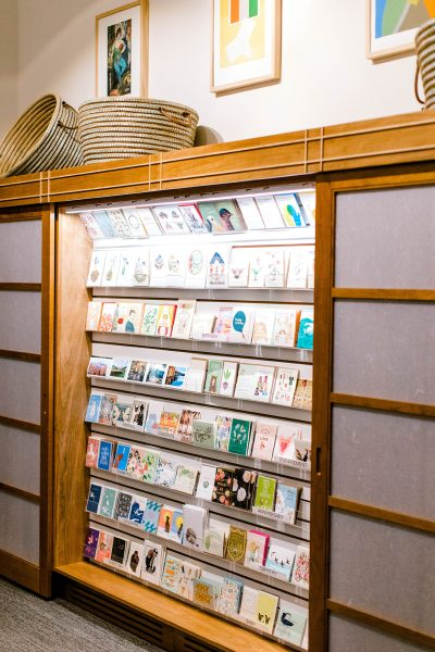 photo of museum store display of greeting cards including letterpress cards