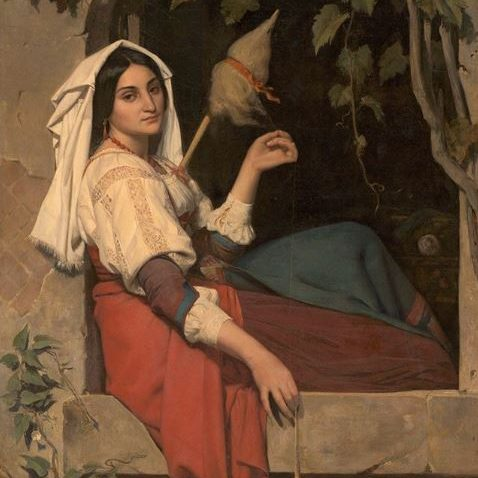 Painting of a woman sitting in a stone window opening