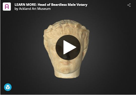 screen shot of an interactive 3D digital model of a statue of a person's head - one of the ways you can engage with the Ackland's art at home