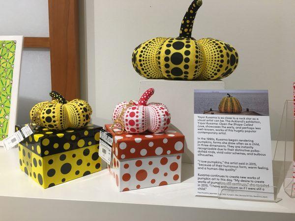 three Yayoi Kusama pumpkins from the gift store