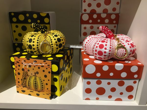 two Yayoi Kusama pumpkin keychains from the gift shop