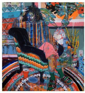 A colorful collage of a woman seated in an arm chair