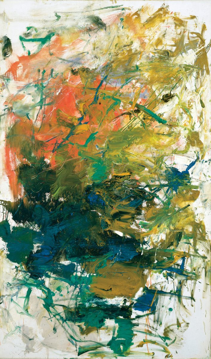 abstract painting in hues of green and orange