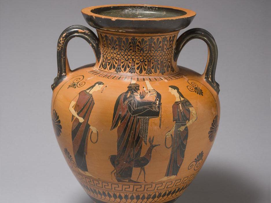 Vessel (Neck Amphora) with Apollo, Leto, and Artemis, c. 540-530