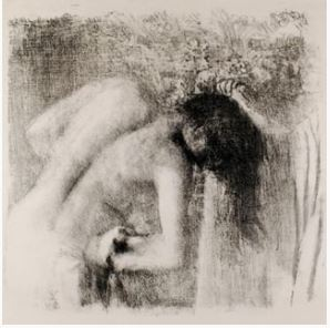 lithograph of a nude woman bathing
