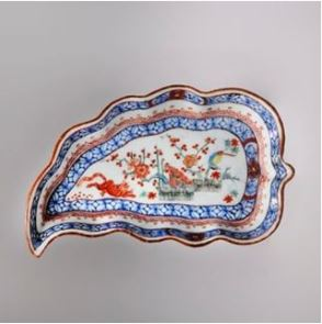 painted leaf shaped dish