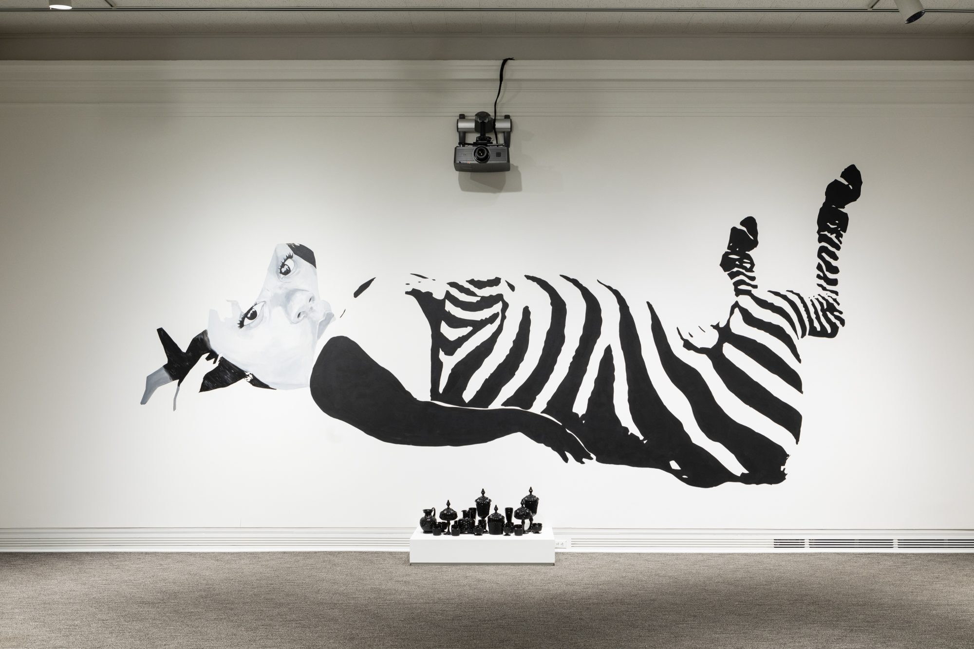 A grayscale painting of Breonna Taylor with the body and legs of a zebra