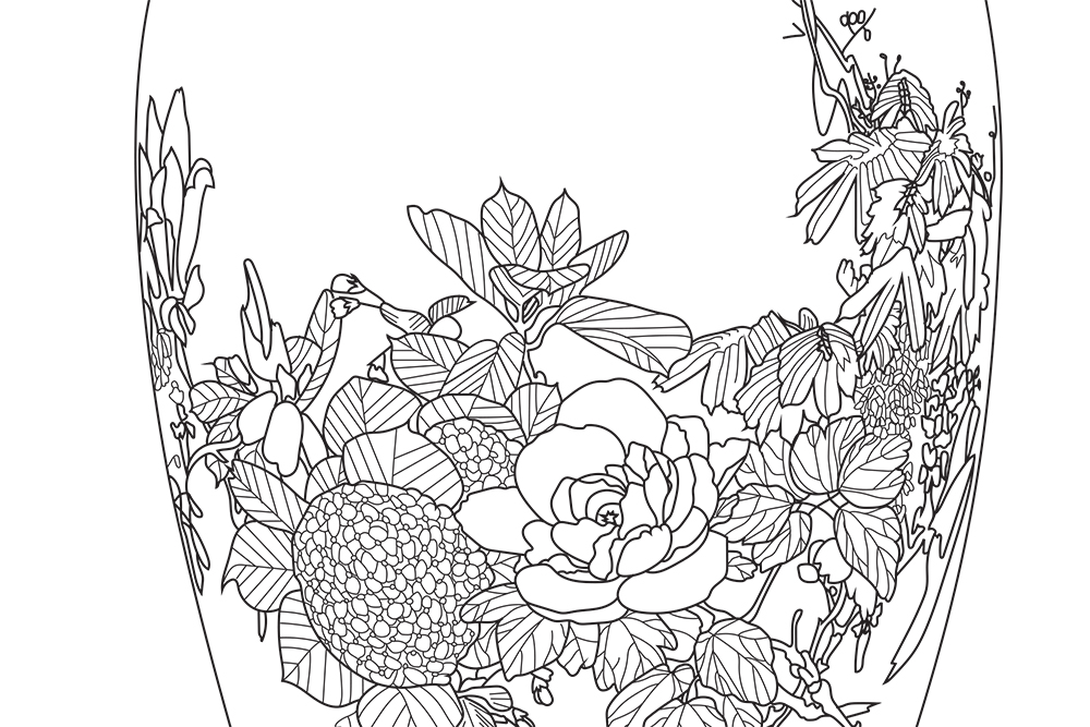 A black and white coloring book line drawing of a vase painted with flowers