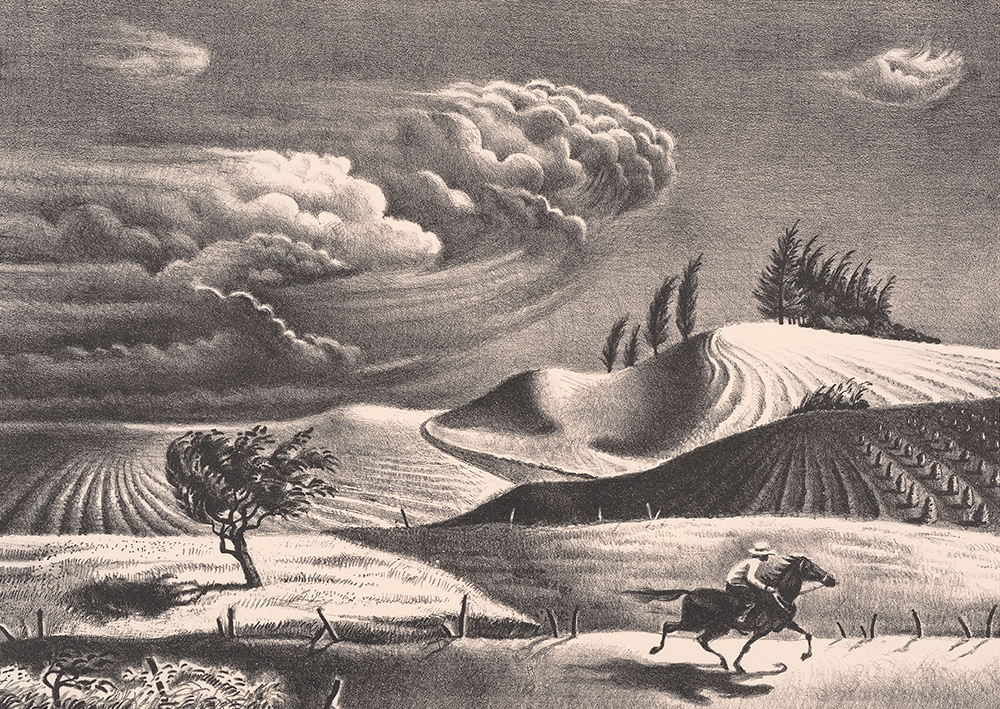 A person rides a horse through a hilly landscape as storm clouds approach