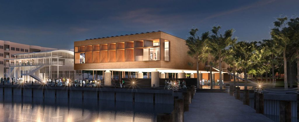 Artist's rendering of a glowing waterfront building at night