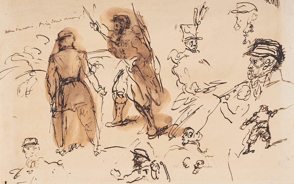 A drawing of soldiers