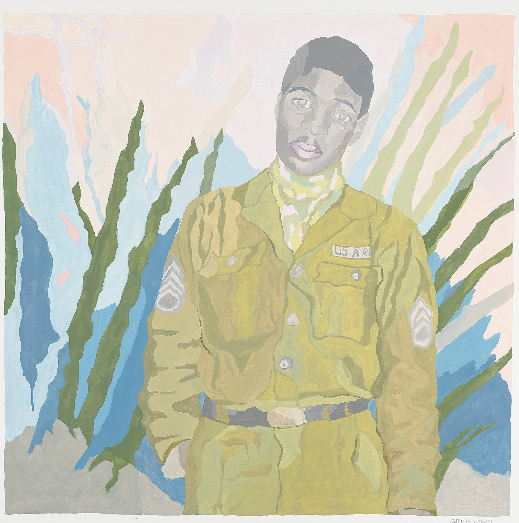 A painting of a black man in a green military uniform standing in front of a scene of tropical greenery.
