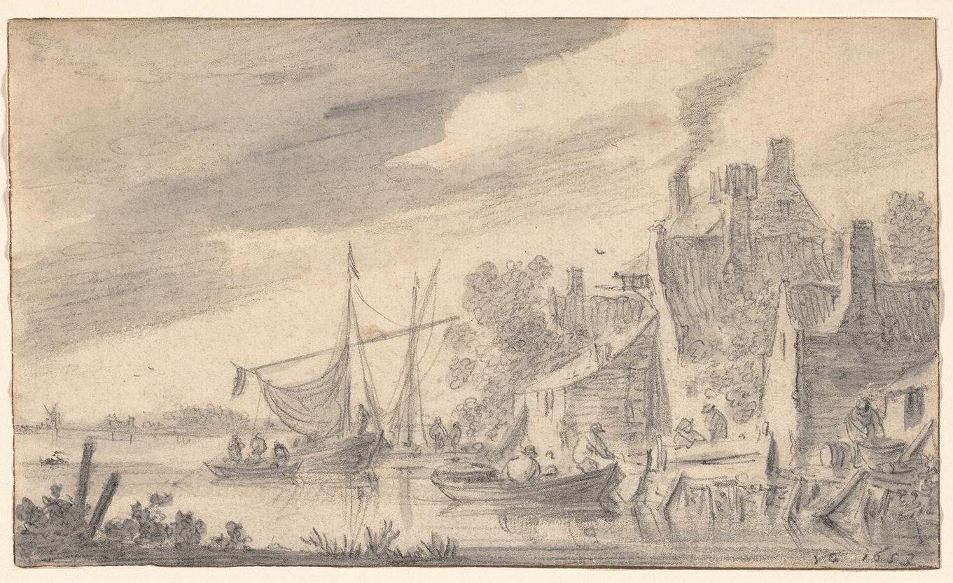 A black and white drawing of a river scene with boats and some buildings on the shore.