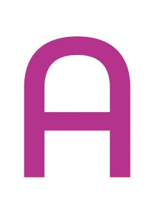 """Magenta """"A"""", the first letter in the Ackland's logo"""