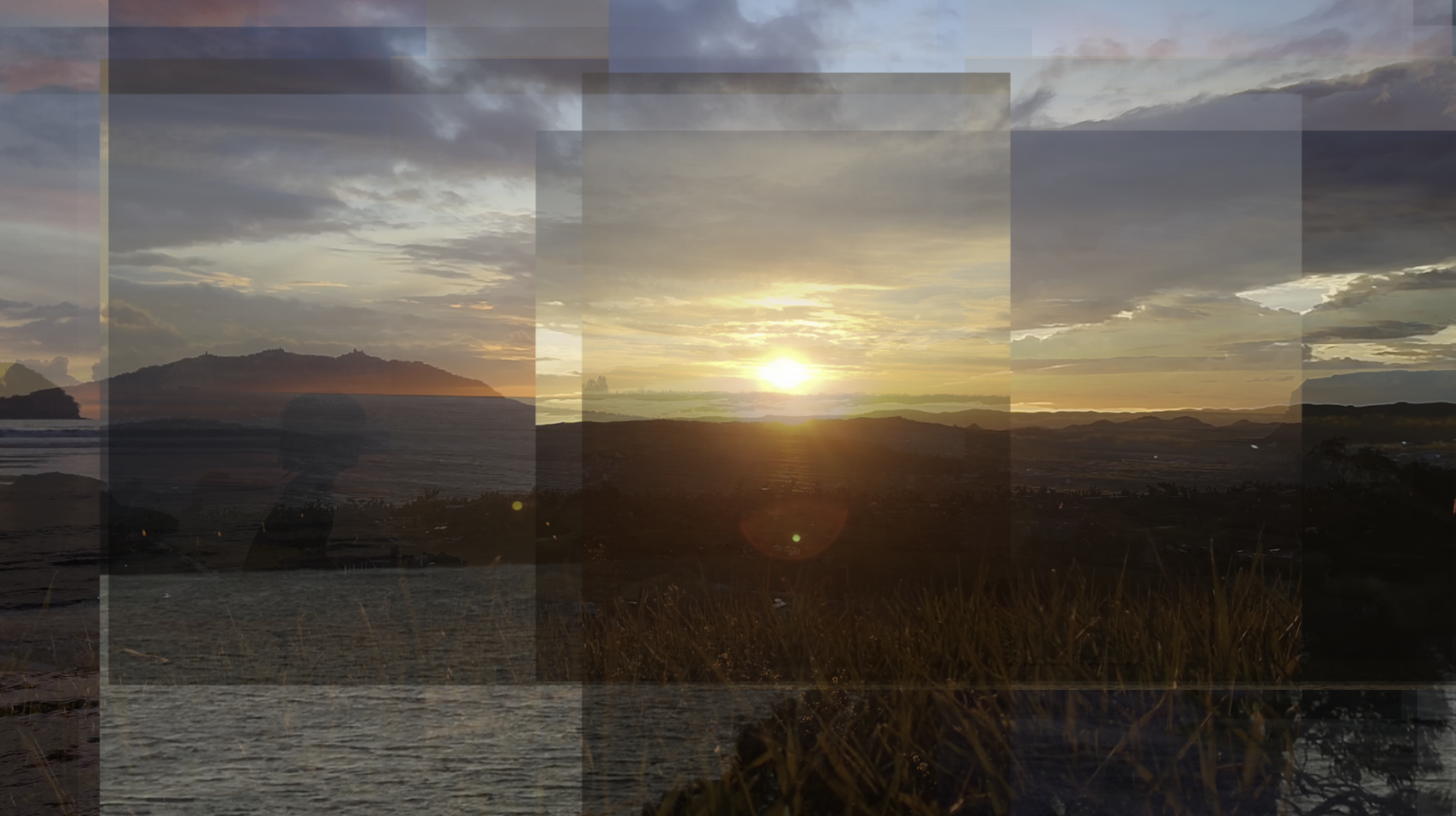 A composite image of a sunrise or sunset made of multiple overlapping photographs